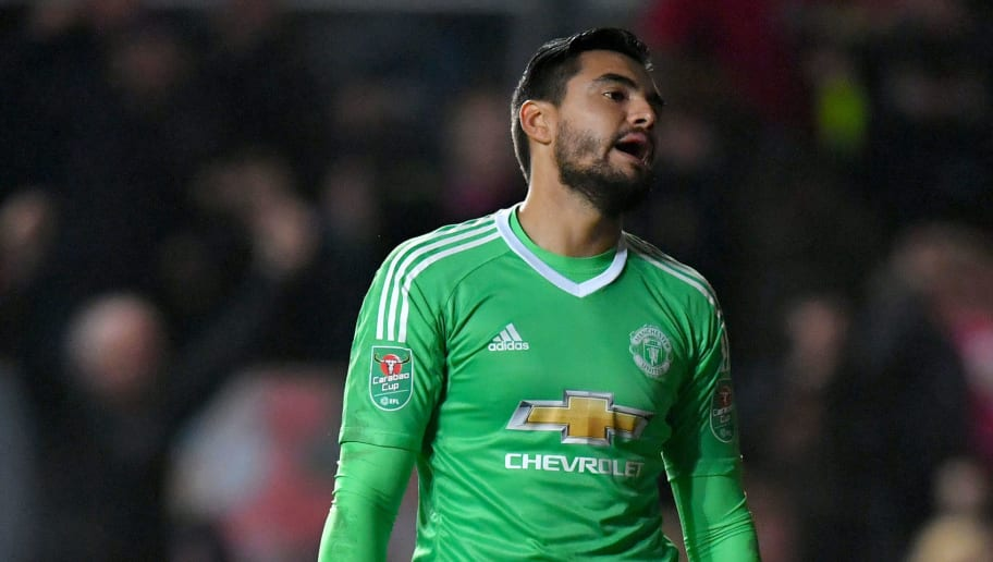 BRISTOL, ENGLAND - DECEMBER 20: Sergio Romero of Manchester United reacts after conceding during the Carabao Cup Quarter-Final match between Bristol City and Manchester United at Ashton Gate on December 20, 2017 in Bristol, England.  (Photo by Dan Mullan/Getty Images)