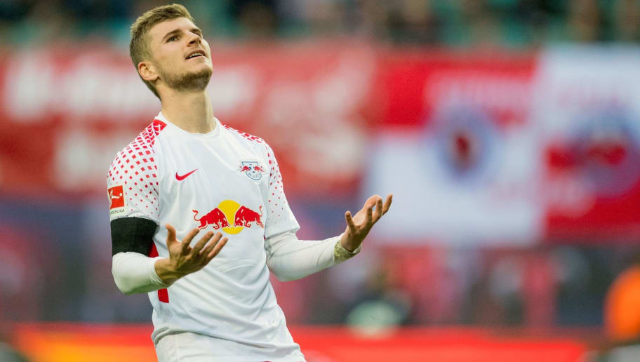 Leipzig's forward Timo Werner reacts during the German first division Bundesliga football match between RB Leipzig and VfB Stuttgart in Leipzig, eastern Germany, on October 21, 2017.  / AFP PHOTO / ROBERT MICHAEL / RESTRICTIONS: DURING MATCH TIME: DFL RULES TO LIMIT THE ONLINE USAGE TO 15 PICTURES PER MATCH AND FORBID IMAGE SEQUENCES TO SIMULATE VIDEO. == RESTRICTED TO EDITORIAL USE == FOR FURTHER QUERIES PLEASE CONTACT DFL DIRECTLY AT + 49 69 650050         (Photo credit should read ROBERT MICHAEL/AFP/Getty Images)