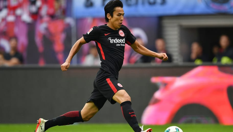 LEIPZIG, GERMANY - SEPTEMBER 23: Makoto Hasebe of Frankfurt during the Bundesliga match between RB Leipzig and Eintracht Frankfurt at Red Bull Arena on September 23, 2017 in Leipzig, Germany. (Photo by Stuart Franklin/Bongarts/Getty Images)