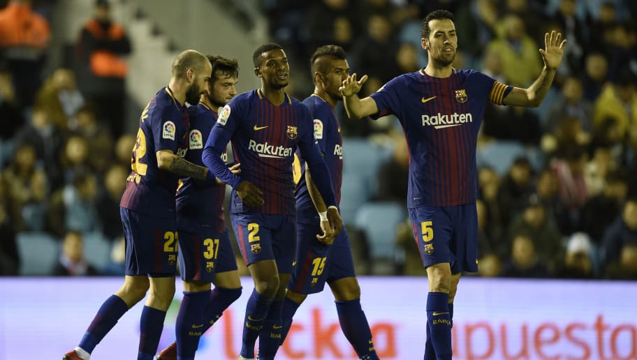VIGO, SPAIN - JANUARY 04: Jose Arnaiz (2-L) of FC Barcelona celebrates with team mates after scores the first goal during the Copa del Rey round of 16 first leg match between RC Celta de Vigo and FC Barcelona at Municipal Balaidos on January 4, 2018 in Vigo, Spain. (Photo by Octavio Passos/Getty Images)