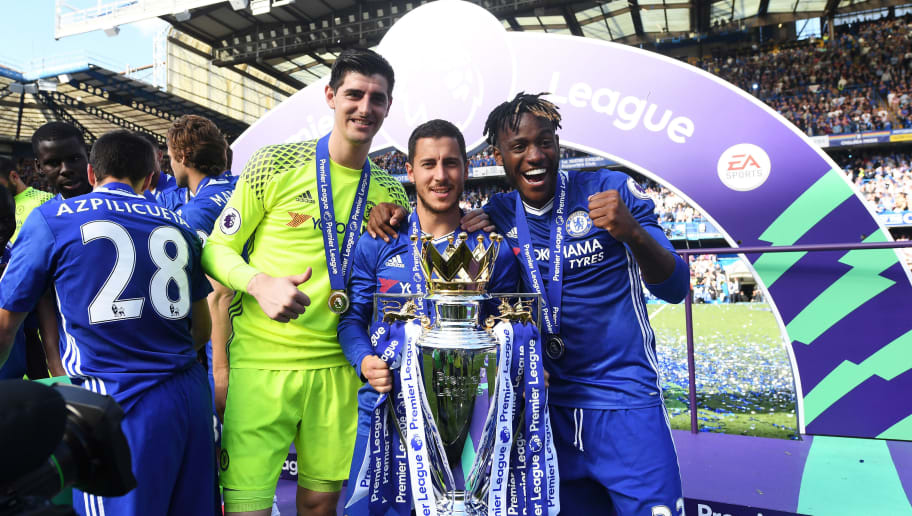 LONDON, ENGLAND - MAY 21: Thibaut Courtois of Chelsea, Eden Hazard of Chelsea and Michy Batshuayi of Chelse  pose with the Premier League Trophy after the Premier League match between Chelsea and Sunderland at Stamford Bridge on May 21, 2017 in London, England.  (Photo by Michael Regan/Getty Images)