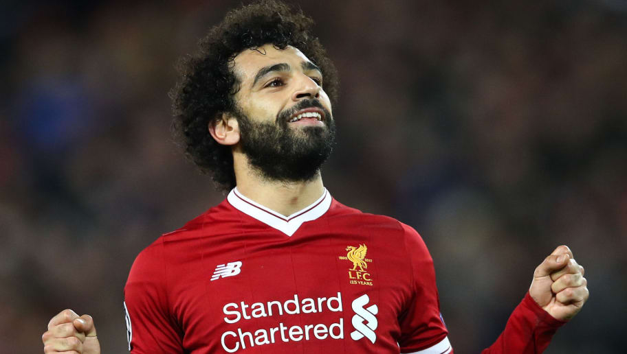 LIVERPOOL, ENGLAND - DECEMBER 06:  Mohamed Salah of Liverpool celebrates after scoring his sides sixth goal during the UEFA Champions League group E match between Liverpool FC and Spartak Moskva at Anfield on December 6, 2017 in Liverpool, United Kingdom.  (Photo by Clive Brunskill/Getty Images)