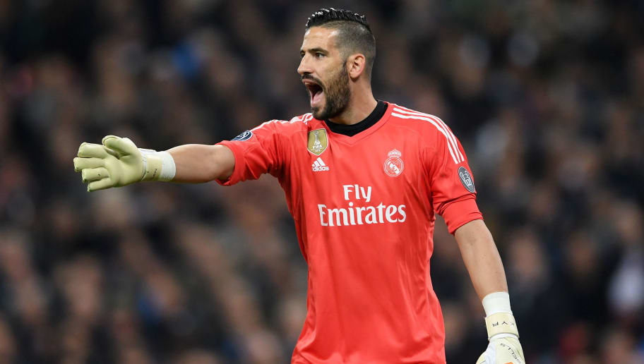LONDON, ENGLAND - NOVEMBER 01:  Kiko Casilla of Real Madrid shouts instructions during the UEFA Champions League group H match between Tottenham Hotspur and Real Madrid at Wembley Stadium on November 1, 2017 in London, United Kingdom.  (Photo by Laurence Griffiths/Getty Images)