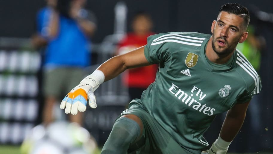 Real Madrid goalkeeper Kiko Casilla eyes on a ball during the second half of the International Champions Cup match against Manchester City on July 26, 2017 in Los Angeles, California. Manchester City won 4-1.  / AFP PHOTO / RINGO CHIU / The erroneous mention[s] appearing in the metadata of this photo by RINGO CHIU has been modified in AFP systems in the following manner: Kiko Casilla] instead of [Keylor Navas ]. Please immediately remove the erroneous mention[s] from all your online services and delete it (them) from your servers. If you have been authorized by AFP to distribute it (them) to third parties, please ensure that the same actions are carried out by them. Failure to promptly comply with these instructions will entail liability on your part for any continued or post notification usage. Therefore we thank you very much for all your attention and prompt action. We are sorry for the inconvenience this notification may cause and remain at your disposal for any further information you may require.        (Photo credit should read RINGO CHIU/AFP/Getty Images)