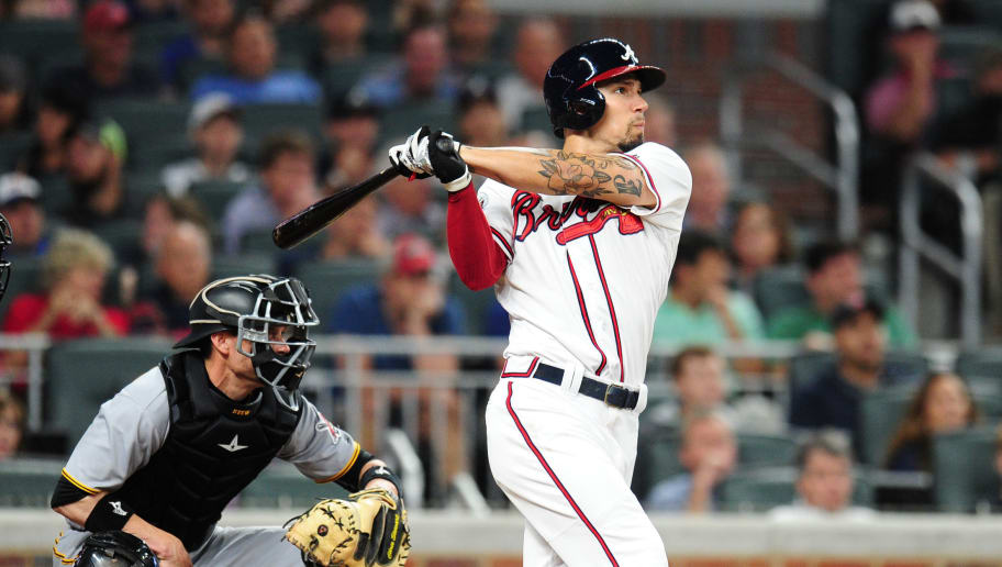 ATLANTA, GA - MAY 24: Jace Peterson #8 of the Atlanta Braves hits a fourth inning double to score two runs against the Pittsburgh Pirates at SunTrust Park on May 24, 2017 in Atlanta, Georgia. (Photo by Scott Cunningham/Getty Images)