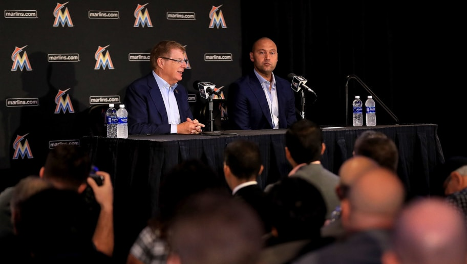 MIAMI, FL - OCTOBER 03:  Principal owner Bruce Sherman and CEO Derek Jeter speak with members of the media at Marlins Park on October 3, 2017 in Miami, Florida.  (Photo by Mike Ehrmann/Getty Images)