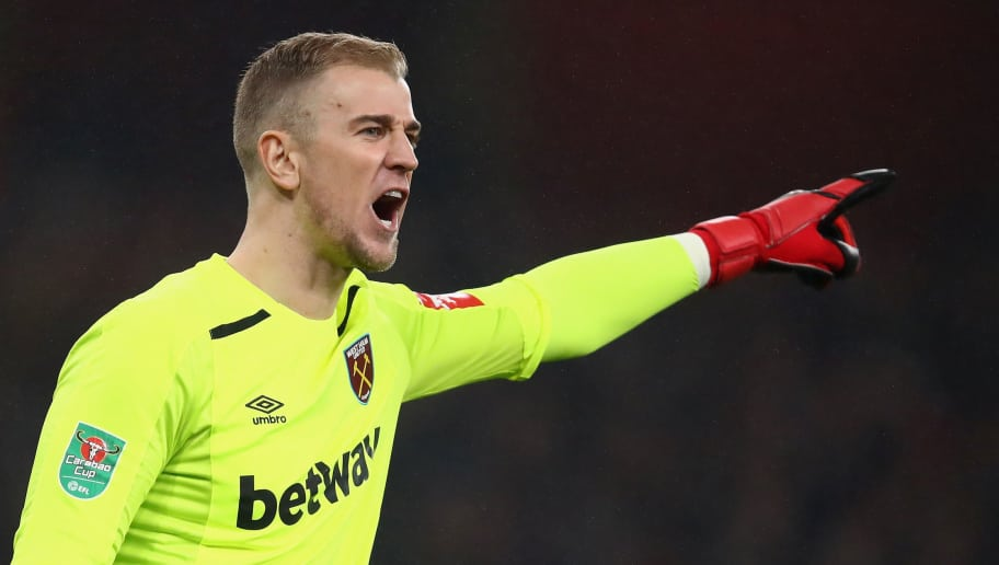 LONDON, ENGLAND - DECEMBER 19:  Joe Hart goalkeeper of West Ham shouts instructions during the Carabao Cup Quarter Finals match between Arsenal and West Ham United at Emirates Stadium on December 19, 2017 in London, England.  (Photo by Julian Finney/Getty Images)