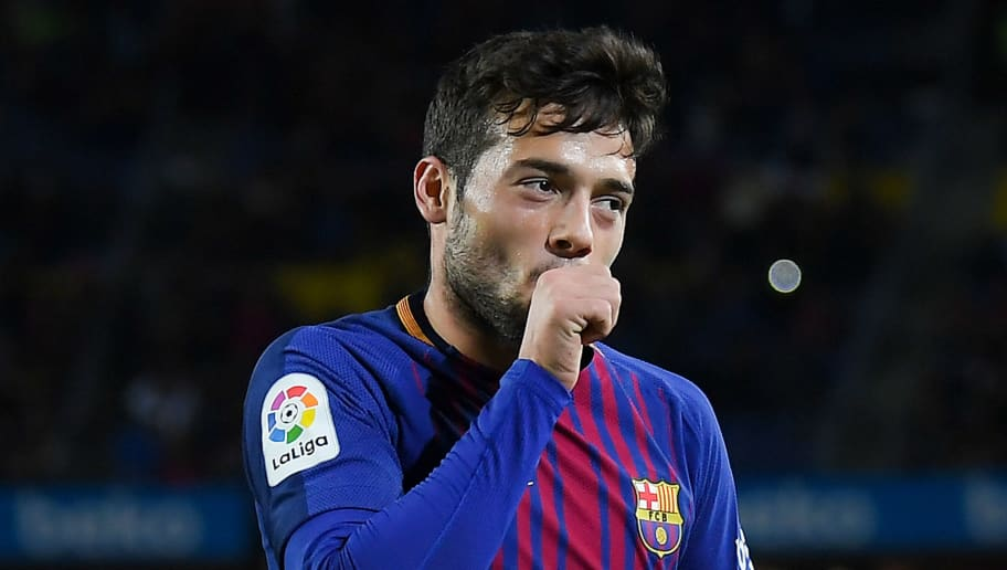 BARCELONA, SPAIN - NOVEMBER 29:  Jose Arnaiz of FC Barcelona celebrates after scoring his team's fifth goal during the Copa del Rey round of 32 second leg match between FC Barcelona and Real Murcia at Camp Nou on November 29, 2017 in Barcelona, Spain.  (Photo by David Ramos/Getty Images)