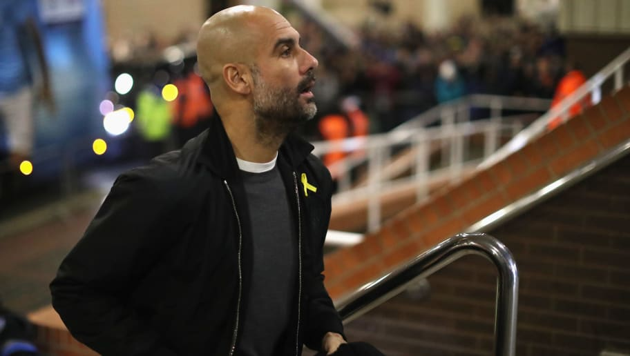 NEWCASTLE UPON TYNE, ENGLAND - DECEMBER 27:  Josep Guardiola, Manager of Manchester City arrives for the Premier League match between Newcastle United and Manchester City at St. James' Park on December 27, 2017 in Newcastle upon Tyne, England.  (Photo by Ian MacNicol/Getty Images)