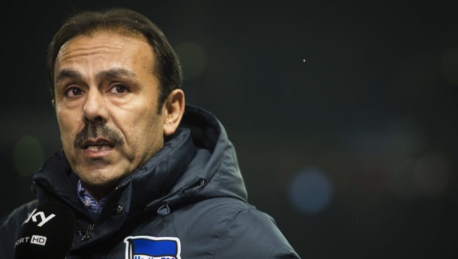 Hertha Berlin's Dutch head coach Jos Luhukay is seen during the German first division Bundesliga football match Berlin vs Leverkusen at the Olympic stadium in Berlin on February 4, 2015.   AFP PHOTO / ODD ANDERSEN  RESTRICTIONS - DFL RULES TO LIMIT THE ONLINE USAGE DURING MATCH TIME TO 15 PICTURES PER MATCH. FOR FURTHER QUERIES PLEASE CONTACT DFL DIRECTLY AT + 49 69 650050.        (Photo credit should read ODD ANDERSEN/AFP/Getty Images)