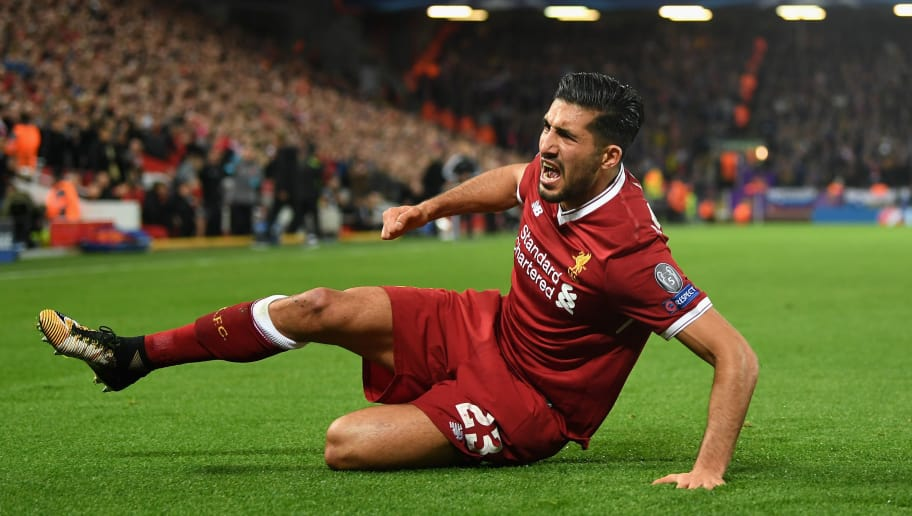 LIVERPOOL, ENGLAND - NOVEMBER 01:  Emre Can of Liverpool celebrates scoring his sides second goal during the UEFA Champions League group E match between Liverpool FC and NK Maribor at Anfield on November 1, 2017 in Liverpool, United Kingdom.  (Photo by Michael Regan/Getty Images)
