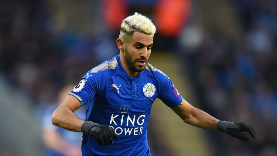LEICESTER, ENGLAND - JANUARY 01:  Riyad Mahrez of Leicester City during the Premier League match between Leicester City and Huddersfield Town at The King Power Stadium on January 1, 2018 in Leicester, England.  (Photo by Tony Marshall/Getty Images)