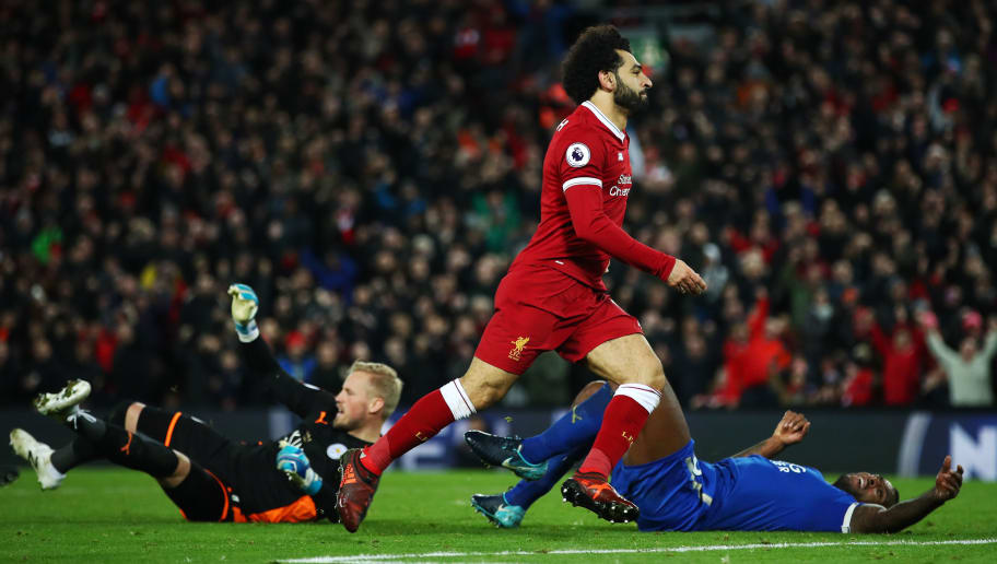 LIVERPOOL, ENGLAND - DECEMBER 30:  Mohamed Salah of Liverpool celebrates scoring his team's second goal during the Premier League match between Liverpool and Leicester City at Anfield on December 30, 2017 in Liverpool, England.  (Photo by Clive Brunskill/Getty Images)