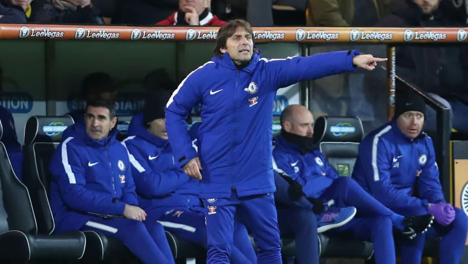 NORWICH, ENGLAND - JANUARY 06:  Antonio Conte, Manager of Chelsea gives his team instructions during the The Emirates FA Cup Third Round match between Norwich City and Chelsea at Carrow Road on January 6, 2018 in Norwich, England.  (Photo by James Chance/Getty Images)