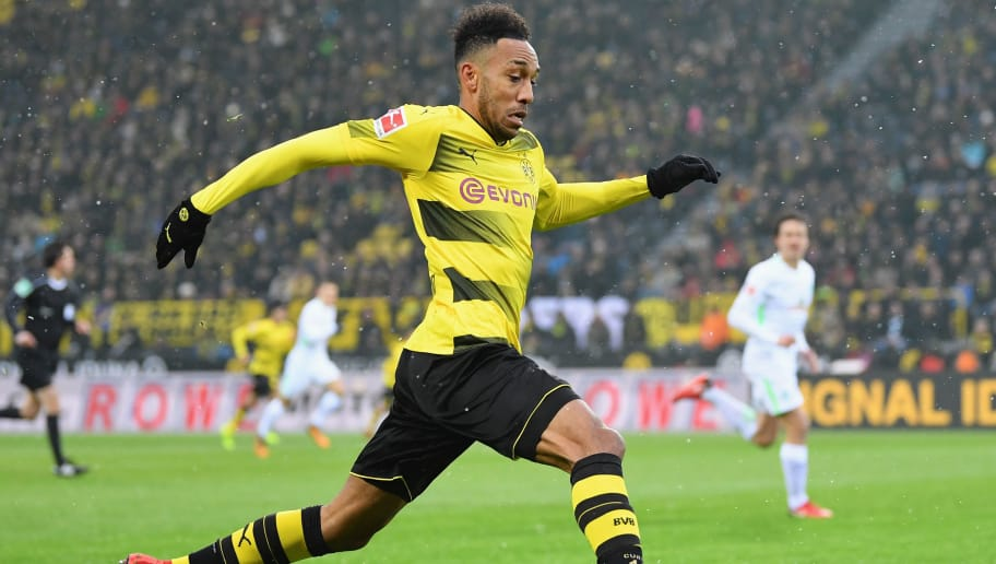 DORTMUND, GERMANY - DECEMBER 09:  Pierre-Emerick Aubameyang of Dortmund  in action during the Bundesliga match between Borussia Dortmund and SV Werder Bremen at Signal Iduna Park on December 9, 2017 in Dortmund, Germany.  (Photo by Stuart Franklin/Bongarts/Getty Images )