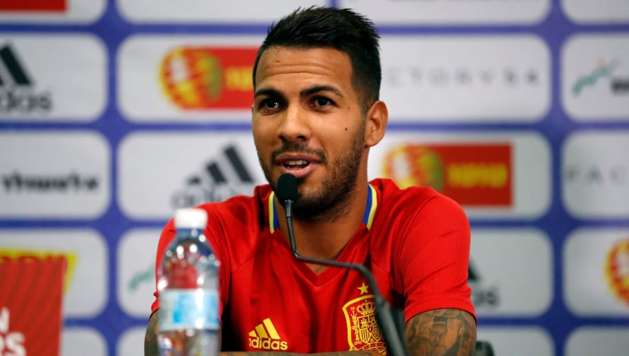 Spain's midfielder Jonathan Viera speaks during a press conference at the Teddy stadium in Jerusalem on October 8, 2017, a day ahead of the team's FIFA World Cup 2018 qualifying football match against Israel.  / AFP PHOTO / THOMAS COEX        (Photo credit should read THOMAS COEX/AFP/Getty Images)