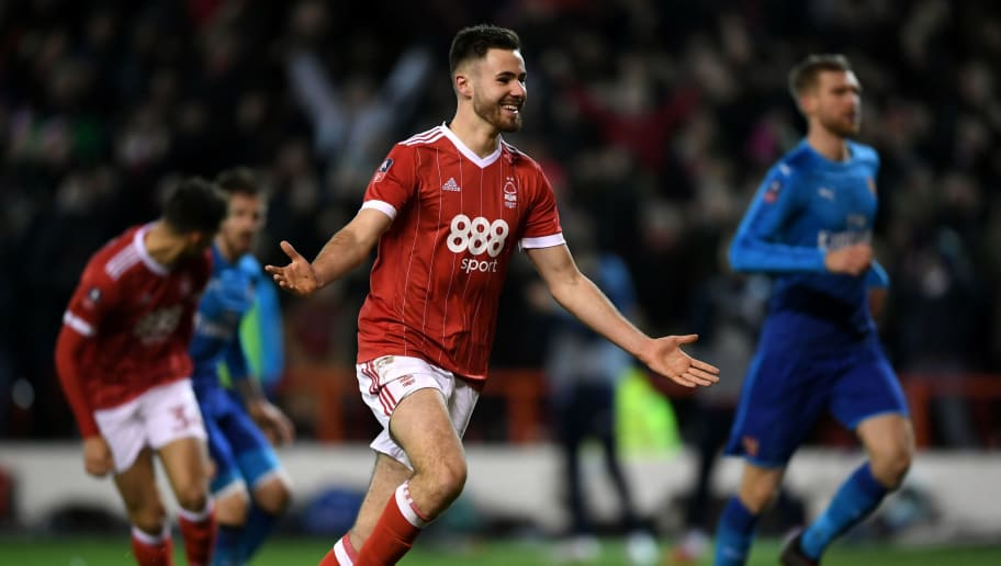 NOTTINGHAM, ENGLAND - JANUARY 07:  Ben Brereton of Nottingham Forest celebrates scoring his team's third goal from the penalty spot during The Emirates FA Cup Third Round match between Nottingham Forest and Arsenal at City Ground on January 7, 2018 in Nottingham, England.  (Photo by Laurence Griffiths/Getty Images)