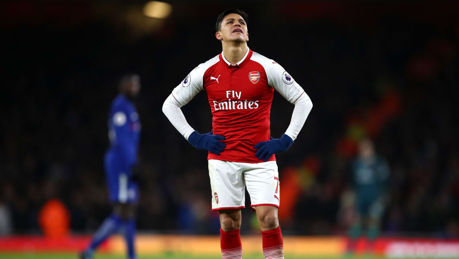 LONDON, ENGLAND - JANUARY 03:  Alexis Sanchez of Arsenal reacts at the full time whistle after the Premier League match between Arsenal and Chelsea at Emirates Stadium on January 3, 2018 in London, England.  (Photo by Julian Finney/Getty Images)