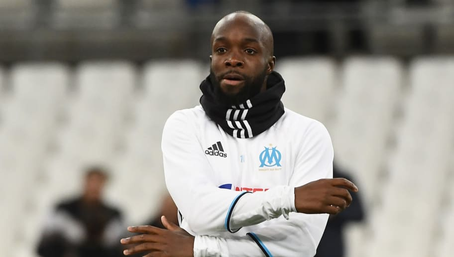 Olympique de Marseille's French midfielder Lassana Diarra warms up prior to the French Ligue 1 football match between Olympique de Marseille (OM) and Guingamp at the Velodrome stadium in Marseille on February 8, 2017.    / AFP / BORIS HORVAT        (Photo credit should read BORIS HORVAT/AFP/Getty Images)