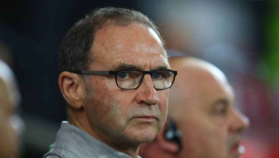 Ireland's coach Martin O'Neill looks on before the group D World Cup qualifying football match between Wales and Republic of Ireland at Cardiff City Stadium in Cardiff on October 10, 2017. / AFP PHOTO / Geoff CADDICK        (Photo credit should read GEOFF CADDICK/AFP/Getty Images)