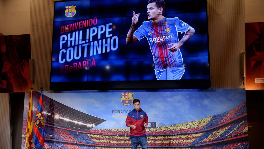 Barcelona's new Brazilian midfielder Philippe Coutinho poses for a picture in Barcelona on January 7, 2018.  Coutinho is in Barcelona to tie up a 160-million-euro ($192 million) move from Liverpool, the third-richest deal of all time. / AFP PHOTO / Josep LAGO        (Photo credit should read JOSEP LAGO/AFP/Getty Images)