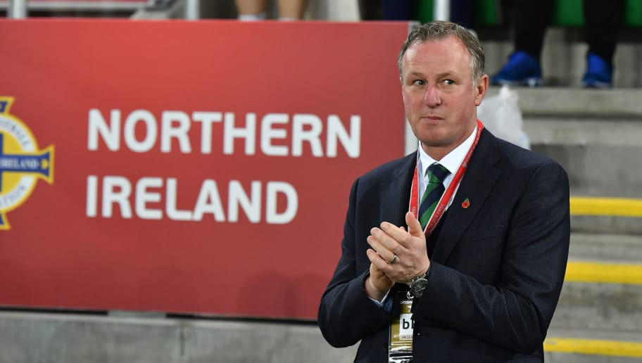 BELFAST, NORTHERN IRELAND - NOVEMBER 09: Northern Ireland manager Michael O'Neill during the FIFA 2018 World Cup Qualifier Play-Off first leg between Northern Ireland and Switzerland at Windsor Park on November 9, 2017 in Belfast, Northern Ireland. (Photo by Charles McQuillan/Getty Images)