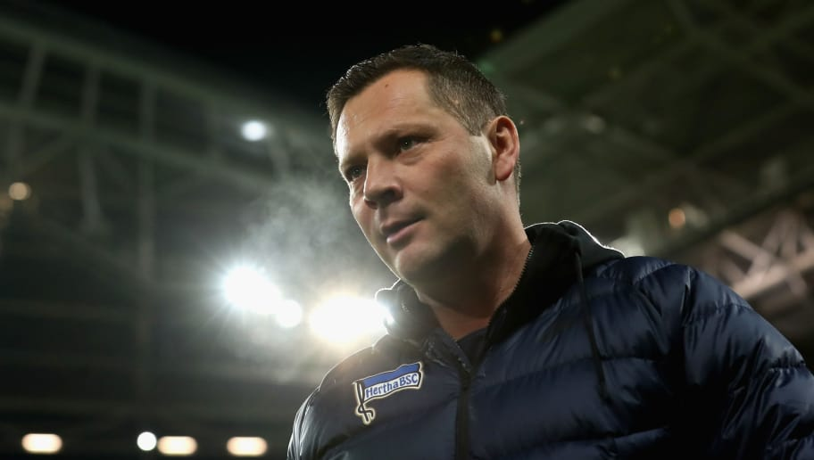 LEIPZIG, GERMANY - DECEMBER 17:  Head coach Pal Dardai of Hertha BSC looks on prior to the Bundesliga match between RB Leipzig and Hertha BSC at Red Bull Arena on December 17, 2017 in Leipzig, Germany.  (Photo by Boris Streubel/Bongarts/Getty Images)