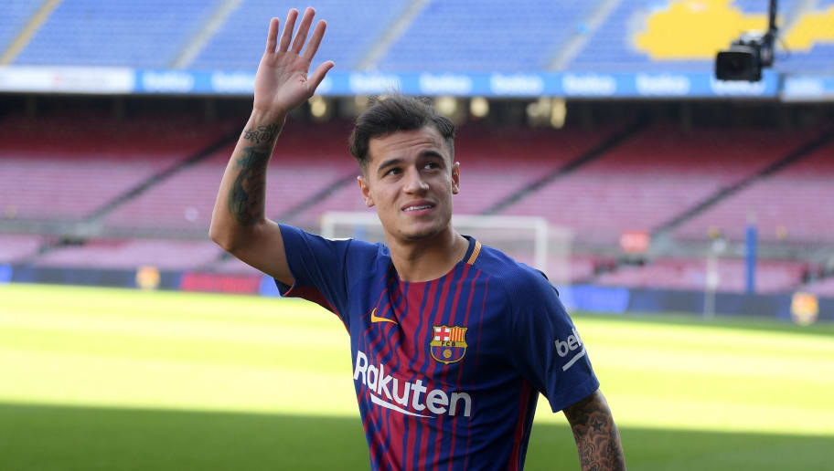 BARCELONA, SPAIN - JANUARY 08:  New Barcelona signing Philippe Coutinho is unveiled at Camp Nou on January 8, 2018 in Barcelona, Spain. The Brazilian player signed from Liverpool, has agreed a deal with the Catalan club until 2023 season.  (Photo by David Ramos/Getty Images)