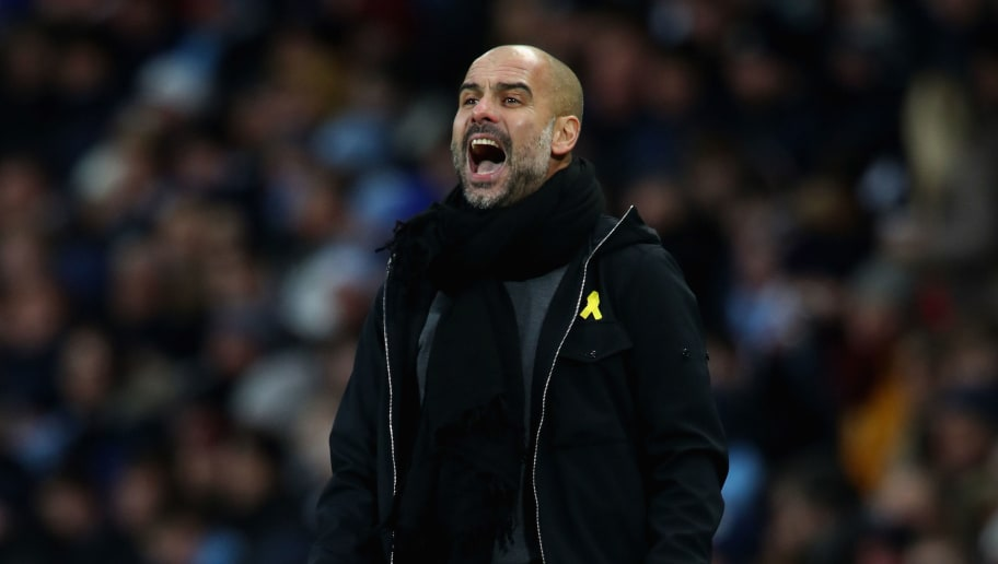 MANCHESTER, ENGLAND - JANUARY 06:  Josep Guardiola, Manager of Manchester City shows his emotion during The Emirates FA Cup Third Round match between Manchester City and Burnley at Etihad Stadium on January 6, 2018 in Manchester, England.  (Photo by Clive Brunskill/Getty Images)