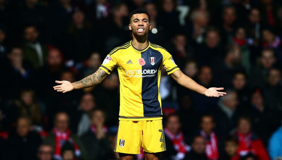 BRENTFORD, ENGLAND - NOVEMBER 04:  Ryan Fredericks of Fulham reacts during the Sky Bet Championship match between Brentford and Fulham at Griffin Park on November 4, 2016 in Brentford, England.  (Photo by Dan Istitene/Getty Images)