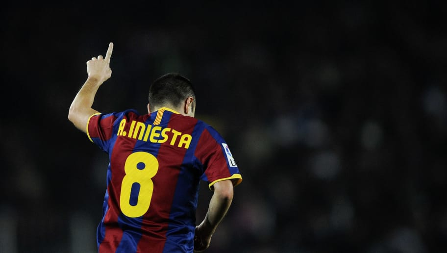 BARCELONA, SPAIN - DECEMBER 12:  Andres Iniesta of Barcelona celebrates after scoring his goal during the La Liga match between Barcelona and Real Sociedad at Camp Nou Stadium on December 12, 2010 in Barcelona, Spain. Barcelona won 5-0.  (Photo by David Ramos/Getty Images)