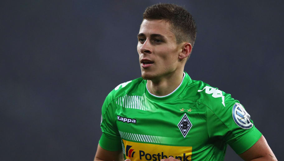 MOENCHENGLADBACH, GERMANY - DECEMBER 20:  Thorgan Hazard of Borussia Monchengladbach looks on during the DFB-Pokal match between Borussia Moenchengladbach and Bayer Leverkusen at Borussia-Park on December 20, 2017 in Moenchengladbach, Germany.  (Photo by Dean Mouhtaropoulos/Bongarts/Getty Images)