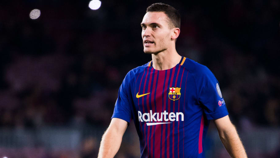BARCELONA, SPAIN - DECEMBER 05:  Thomas Vermaelen of FC Barcelona looks on during the UEFA Champions League group D match between FC Barcelona and Sporting CP at Camp Nou on December 5, 2017 in Barcelona, Spain.  (Photo by Alex Caparros/Getty Images)