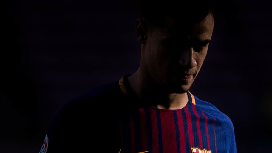 BARCELONA, SPAIN - JANUARY 08:  New FC Barcelona signing Philippe Coutinho looks on as he is unveiled at Nou Camp on January 8, 2018 in Barcelona, Spain. The Brazilian player signed from Liverpool, has agreed a deal with the catalan club until 2023 season.  (Photo by David Ramos/Getty Images)