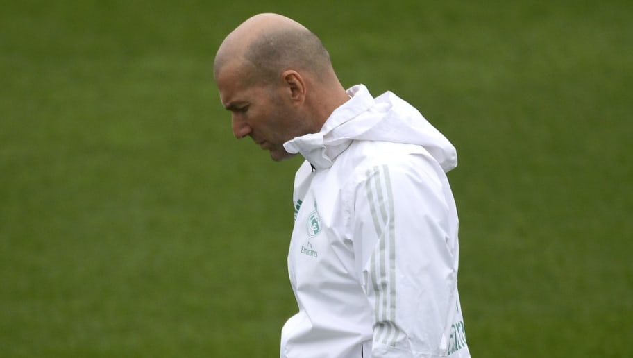 Real Madrid's French coach Zinedine Zidane attends a training session at Valdebebas Sport City in Madrid on January 9, 2018. / AFP PHOTO / PIERRE-PHILIPPE MARCOU        (Photo credit should read PIERRE-PHILIPPE MARCOU/AFP/Getty Images)