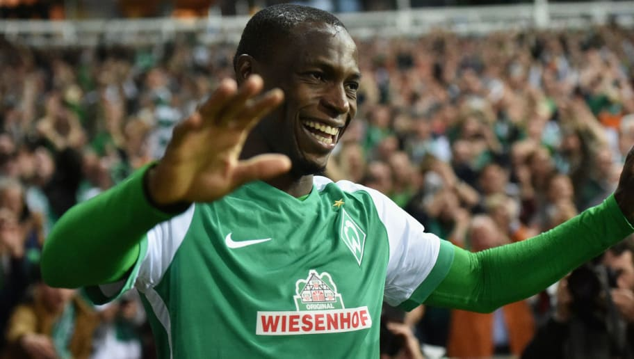 BREMEN, GERMANY - MAY 02:  Anthony Ujah of Werder Bremen celebrates as he scores their sixth goal during the Bundesliga match between Werder Bremen and VfB Stuttgart at Weserstadion on May 2, 2016 in Bremen, Germany.  (Photo by Stuart Franklin/Bongarts/Getty Images)