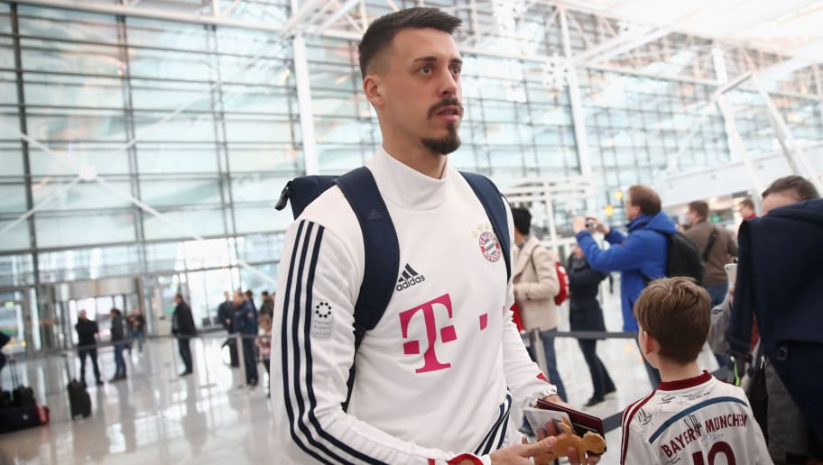 MUNICH, GERMANY - JANUARY 02:  Sandro Wagner of Bayern Muenchen arrives at the airport for the departure to the team's training camp in Doha, Qatar, on January 2, 2018 in Munich, Germany.  (Photo by Alex Grimm/Bongarts/Getty Images)