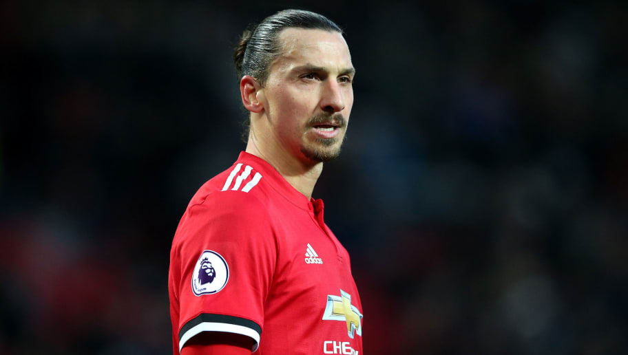 MANCHESTER, ENGLAND - DECEMBER 26:  Zlatan Ibrahimovic of Manchester United looks on during the Premier League match between Manchester United and Burnley at Old Trafford on December 26, 2017 in Manchester, England.  (Photo by Alex Livesey/Getty Images)