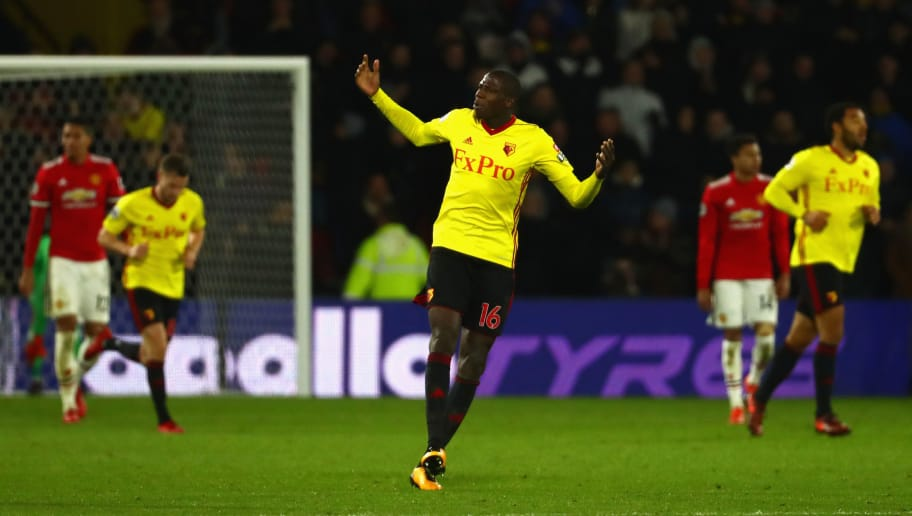 WATFORD, ENGLAND - NOVEMBER 28:  Abdoulaye Doucoure of Watford celebrates scoring the 2nd Watford goal during the Premier League match between Watford and Manchester United at Vicarage Road on November 28, 2017 in Watford, England.  (Photo by Clive Rose/Getty Images)