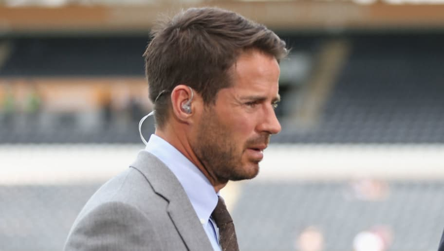 HULL, ENGLAND - AUGUST 13:  Sky Sports presenters Thierry Henry and Jamie Redknapp during the Premier League match between Hull City and Leicester City at KC Stadium on August 13, 2016 in Hull, England.  (Photo by Alex Morton/Getty Images)