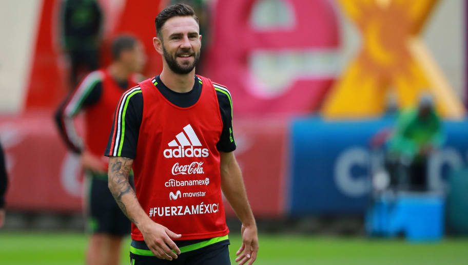 MEXICO CITY, MEXICO - OCTOBER 03: Miguel Layun of Mexico smiles during a Mexico's National Team training session ahead of the Qualifier match against Trinidad & Tobago at CAR on October 03, 2017 in Mexico City, Mexico. (Photo by Hector Vivas/Getty Images)