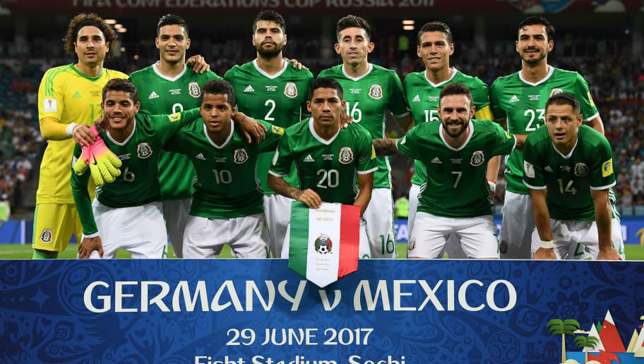 Mexico's national football team players (back L-R) goalkeeper Guillermo Ochoa, forward Raul Jimenez, defender Nestor Araujo, midfielder Hector Herrera, defender Hector Moreno, midfielder Oswaldo Alanis, (L-R) midfielder Jonathan Dos Santos, midfielder Giovani Dos Santos, midfielder Javier Aquino, midfielder Miguel Layun and forward Javier Hernandez pose for a group picture before the 2017 FIFA Confederations Cup semi-final football match between Germany and Mexico at the Fisht Stadium in Sochi on June 29, 2017. / AFP PHOTO / FRANCK FIFE        (Photo credit should read FRANCK FIFE/AFP/Getty Images)