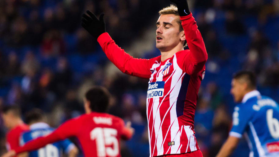 BARCELONA , SPAIN - DECEMBER 22: Antoine Griezmann of Atletico de Madrid reacts during the La Liga match between Espanyol and Atletico Madrid at RCDE Stadium on December 22, 2017 in Barcelona, Spain. (Photo by Alex Caparros/Getty Images)