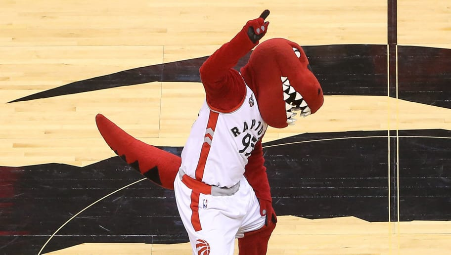 TORONTO, CANADA - APRIL 16: The Toronto Raptors mascot Raptor performs at center court before the start of the game against the Indiana Pacers in Game One of the Eastern Conference Quarterfinals during the 2016 NBA Playoffs on April 16, 2016 at the Air Canada Centre in Toronto, Ontario, Canada. NOTE TO USER: User expressly acknowledges and agrees that, by downloading and or using this photograph, User is consenting to the terms and conditions of the Getty Images License Agreement. (Photo by Tom Szczerbowski/Getty Images)