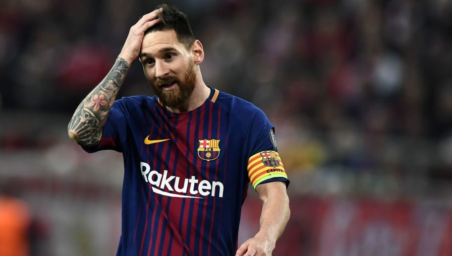 Barcelona's Argentinian forward Lionel Messi reacts at the end of the UEFA Champions League group D football match between FC Barcelona and Olympiakos FC at the Karaiskakis stadium in Piraeus near Athens on October 31, 2017.  / AFP PHOTO / ARIS MESSINIS        (Photo credit should read ARIS MESSINIS/AFP/Getty Images)