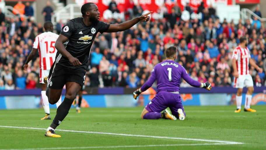 STOKE ON TRENT, ENGLAND - SEPTEMBER 09:  Romelu Lukaku of Manchester United celebrates scoring his sides second goal during the Premier League match between Stoke City and Manchester United at Bet365 Stadium on September 9, 2017 in Stoke on Trent, England.  (Photo by Richard Heathcote/Getty Images)