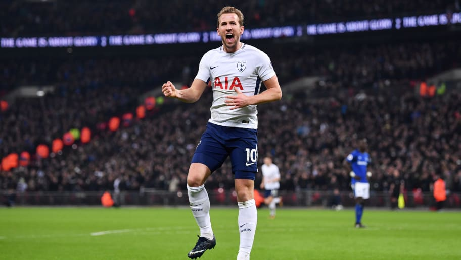 LONDON, ENGLAND - JANUARY 13:  Harry Kane of Tottenham Hotspur celebrates after scoring his sides third goal during the Premier League match between Tottenham Hotspur and Everton at Wembley Stadium on January 13, 2018 in London, England.  (Photo by Justin Setterfield/Getty Images)