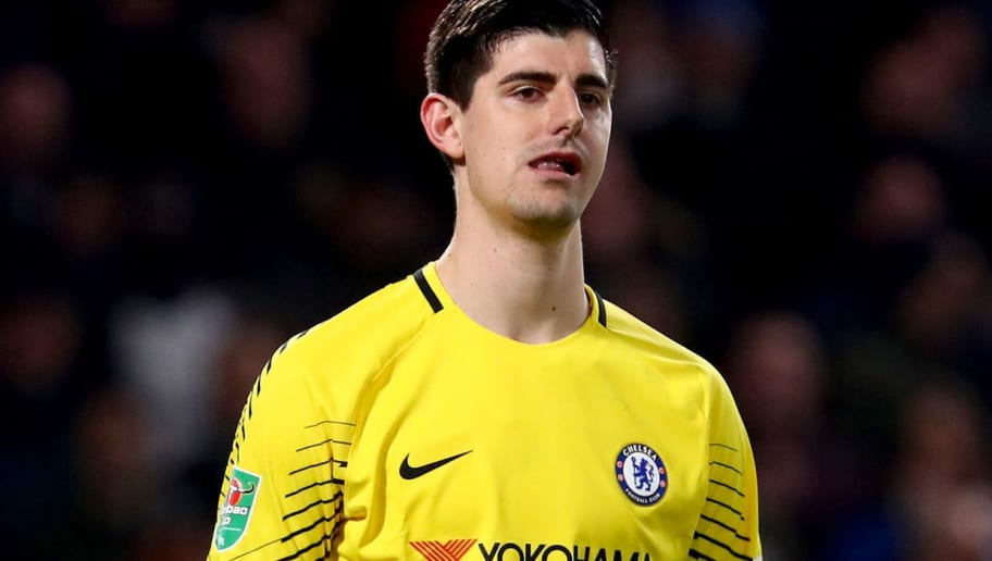 LONDON, ENGLAND - JANUARY 10:  Thibaut Courtois of Chelsea looks on during the Carabao Cup Semi-Final First Leg match between Chelsea and Arsenal at Stamford Bridge on January 10, 2018 in London, England.  (Photo by Clive Rose/Getty Images)