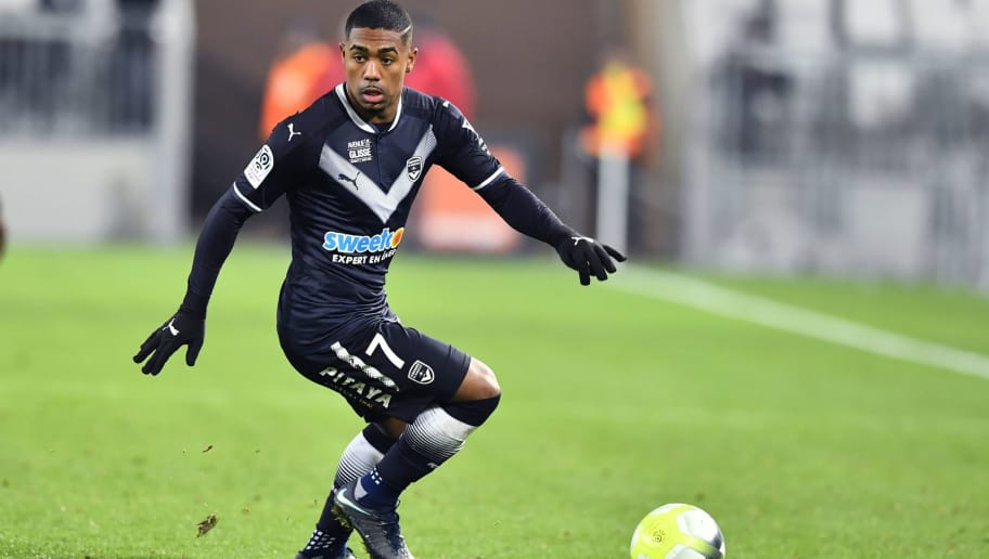 Bordeaux's Brazilian forward Malcom runs with the ball during the French L1 football match between Bordeaux (FCGB) and Montpellier (MHSC) on December 20, 2017, at the Matmut Atlantique stadium in Bordeaux, southwestern France.  / AFP PHOTO / NICOLAS TUCAT        (Photo credit should read NICOLAS TUCAT/AFP/Getty Images)