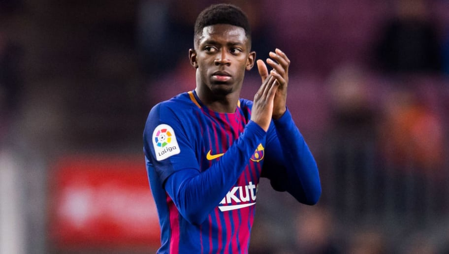 BARCELONA, SPAIN - JANUARY 07: Ousmane Dembele of FC Barcelona applauds to the crowd as he is substituted during the La Liga match between Barcelona and Levante at Camp Nou on January 7, 2018 in Barcelona, Spain. (Photo by Alex Caparros/Getty Images)